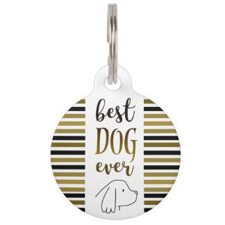 Cocker Spaniel Best Dog Ever Golden Stripes Chic Pet Tag