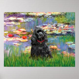 Cocker Spaniel (black) - Lilies 2 Poster