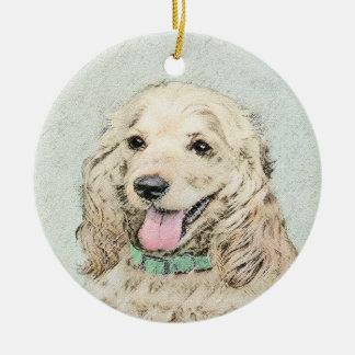 Cocker Spaniel Buff Painting - Original Dog Art Ceramic Ornament
