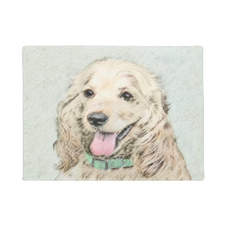 Cocker Spaniel Buff Painting - Original Dog Art Doormat