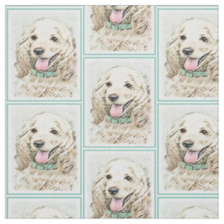 Cocker Spaniel Buff Painting - Original Dog Art Fabric