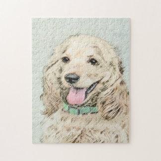 Cocker Spaniel Buff Painting - Original Dog Art Jigsaw Puzzle