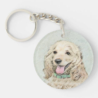 Cocker Spaniel Buff Painting - Original Dog Art Key Ring