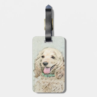 Cocker Spaniel Buff Painting - Original Dog Art Luggage Tag