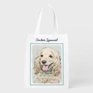 Cocker Spaniel Buff Painting - Original Dog Art Reusable Grocery Bag