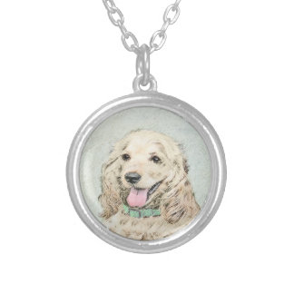 Cocker Spaniel Buff Painting - Original Dog Art Silver Plated Necklace