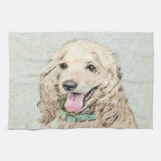 Cocker Spaniel Buff Painting - Original Dog Art Tea Towel
