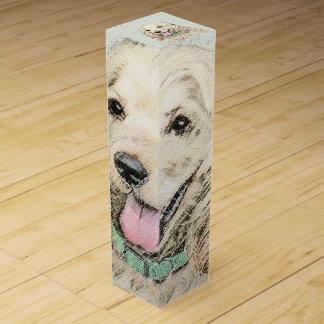 Cocker Spaniel Buff Painting - Original Dog Art Wine Gift Box