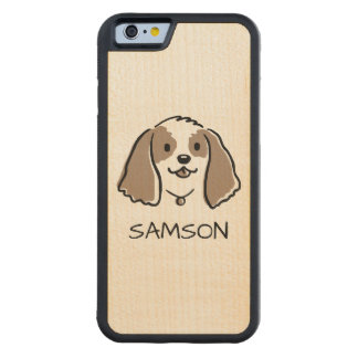 Cocker Spaniel Cartoon Dog - Custom Text Carved Maple iPhone 6 Bumper Case
