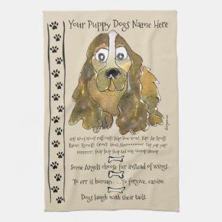 Cocker Spaniel Cartoon Dog Quotes Kitchen Towel