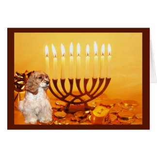 Cocker Spaniel Chanukah Card Menorah2