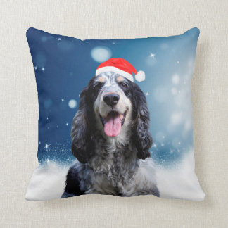 Cocker Spaniel Dog With Christmas Santa Hat Cushion