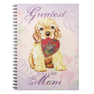 Cocker Spaniel Heart Mom Spiral Note Book