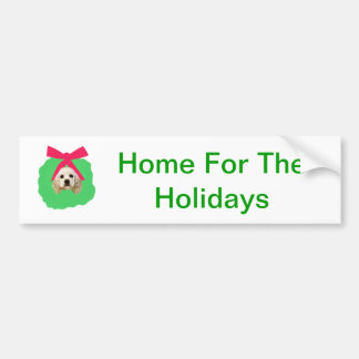 Cocker Spaniel Holiday Christmas Wreath Bumper Sticker