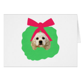 Cocker Spaniel Holiday Christmas Wreath Card