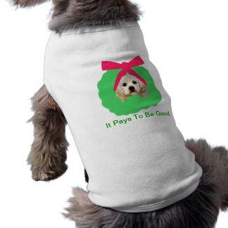 Cocker Spaniel Holiday Christmas Wreath Sleeveless Dog Shirt