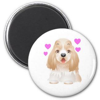 Cocker Spaniel Love 6 Cm Round Magnet