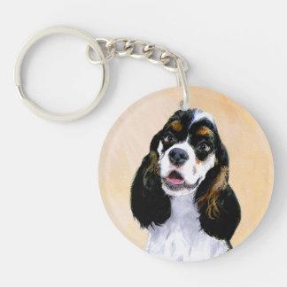 Cocker Spaniel (Parti) Painting - Original Dog Art Key Ring