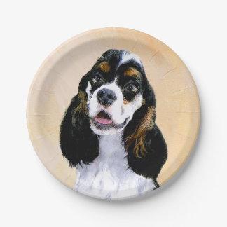 Cocker Spaniel (Parti) Painting - Original Dog Art Paper Plate