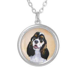 Cocker Spaniel (Parti) Painting - Original Dog Art Silver Plated Necklace