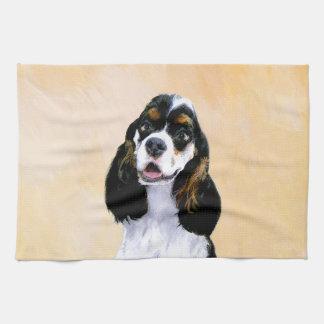 Cocker Spaniel (Parti) Painting - Original Dog Art Tea Towel
