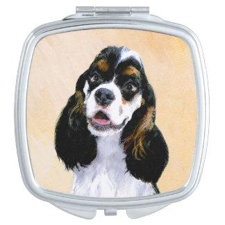 Cocker Spaniel (Parti) Painting - Original Dog Art Travel Mirror