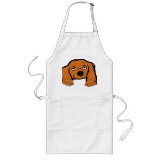 cocker spaniel peeking red long apron