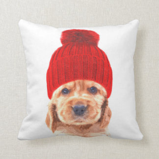 Cocker spaniel puppy with cap portrait cushion