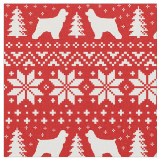 Cocker Spaniel Silhouettes Christmas Pattern Red Fabric