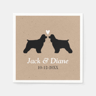 Cocker Spaniels Wedding Couple with Custom Text Paper Napkin