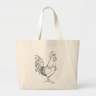 Cockerel doodle jumbo tote bag