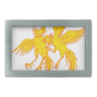 Cockfighting Roosters Cockerel Drawing Belt Buckle