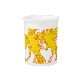 Cockfighting Roosters Cockerel Drawing Pitcher