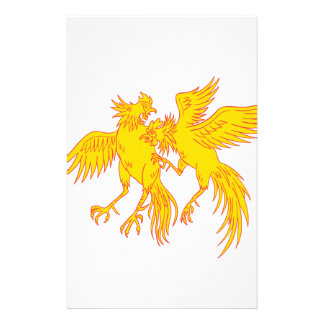 Cockfighting Roosters Cockerel Drawing Stationery