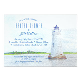 Cockspur Lighthouse Watercolor Bridal Shower Card