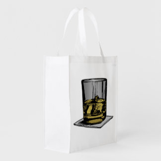 Cocktail and Napkin Design Reusable Grocery Bag
