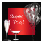 Cocktail Balloons Red Surprise Birthday Party Custom Announcement