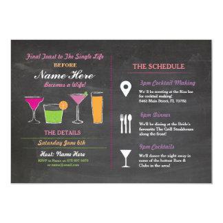 Cocktail Bridal Shower Itinerary Bachelorette 13 Cm X 18 Cm Invitation Card