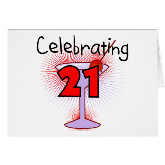 Cocktail Celebrating 21 Tshirts and Gifts Greeting Card