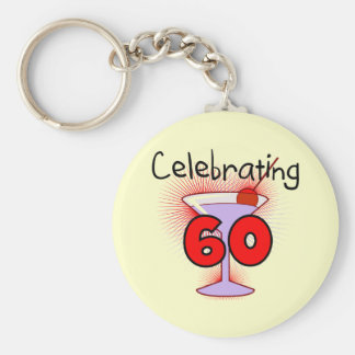 Cocktail Celebrating 60 Tshirts and Gifts Basic Round Button Key Ring