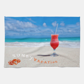 COCKTAIL DRINK AT THE BEACH,VACATION HOME GIFT TEA TOWEL