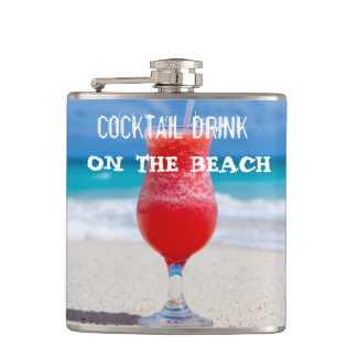 Cocktail Drink On The Beach Hip Flask