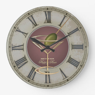Cocktail Glass Happy Hour Wall Clock