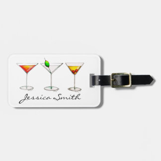 Cocktail Glass Mixed Drink Martini Cosmo Manhattan Luggage Tag