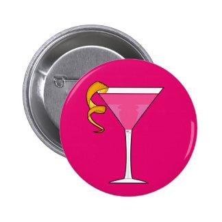 Cocktail Glass Orange Twist Button