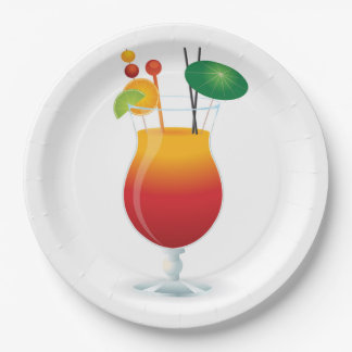 COCKTAIL GLASS PAPER PLATE