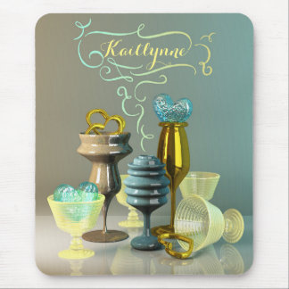 Cocktail Glass Stylish Hearts Gold Turquoise Wine Mouse Pad