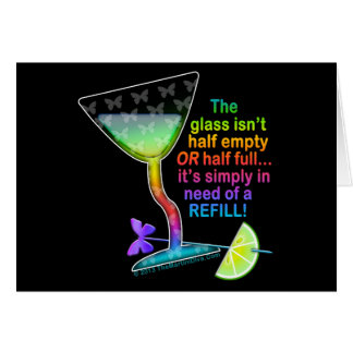COCKTAIL GREETING CARDS - GLASS HALF FULL