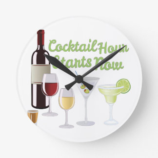 Cocktail Hour Round Clock