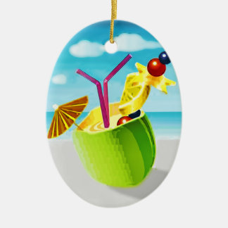 Cocktail in a Coconut Christmas Ornaments